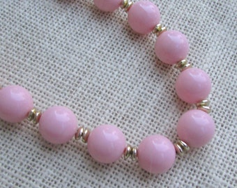 Light pale powdery pink vintage beaded necklace