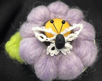 Pincushion--lavender daisy needle felted--lace butterfly---great for quilters