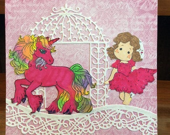 Unicorn Birthday Card, Girls Birthday Card, Heartfelt Creations, Magnolia, Whimsy Stamps, JustRitePapercrafts,PatchworkPals