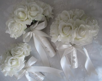FREE SHIPPING......Real Touch Cream White Roses wrapped in Ivory Satin Bridal Bouquet Set