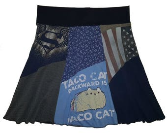Taco Cat Plus Size Skirt 2X 3X Upcycled Skirt Hippie Skirt Women's size 22 24 26 recycled funny t-shirt Twinkle Skirts twinklewear