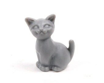 Miniature Cats/Miniature Animals/Miniature Creatures - Sitting Kittens - Gray - Set of 6 - 203-3-212-GY - Dollhouse miniatures