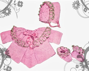 Crochet Pattern - Baby Sacque (Jacket) Bonnet and Booties - Instant download PDF