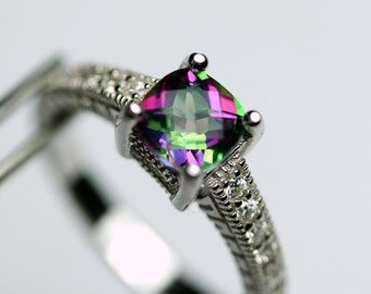 Unique Genuine Mystic Topaz in an Embossed and Accented Sterling Silver Setting