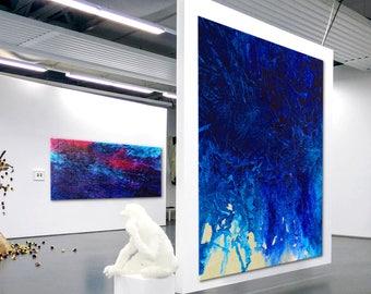 Abstract XXL Modern Art black & white blue  extra large wall  canvas handpainted original minimalist art contemporary heavy texture