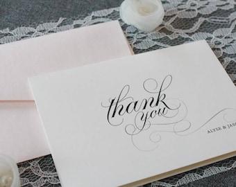 Blush Pink Personalized Wedding Thank You Cards, Newlywed Wedding Thank You, Bridal Shower, Wedding Cards, Pink Wedding - Alyse
