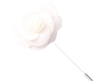 White Knit Microfiber Lapel Flower Pin
