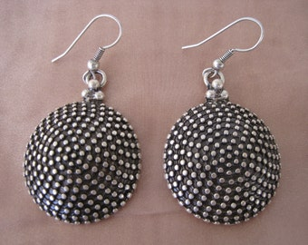 Vintage Silver Dotted Disc Earrings