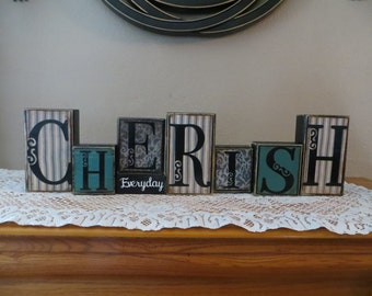 Cherish Wood Blocks Inspirational Keepsake Family Housewarming Life Everyday