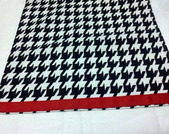 HOUNDSTOOTH TABLE LINENS- with or without Red Band- Houndstooth Table Runners, Napkins, Placemats,  Black and white,  Alabama, Parties