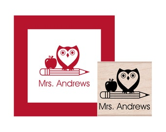 Owl with Pencil and Apple Teacher Personalized Rubber Stamp