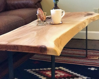 Live edge sycamore wood table with square steel legs