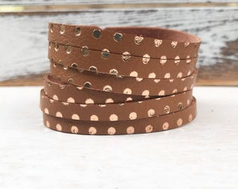 Leather Bangle Bracelet - Terra-cotta/Rose gold polka dots