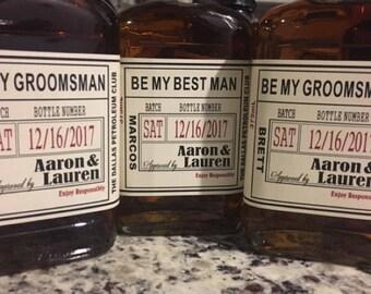 Liquor Flask Labels - Wedding Groomsman Liquor Bottle Labels - Craft Liquor Bottle Labels - Front Labels - 1 label