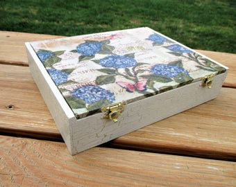 French Country Floral Decoupage Trinket Box