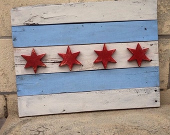 Handmade Pallet Chicago Flag | Wall Art | Home Decor | Pallet Projects | Wood Flag | Chicago