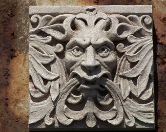 Green Man Satyr- Architectural  Detail -cast stone relief sculpture- Victorian Gothic - Grotesque - New york State Capitol Building-Albany