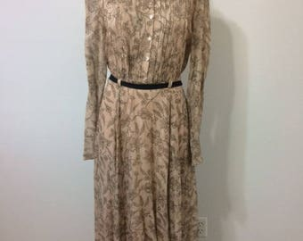 100% Vintage Silk Dress with Pin Tucks