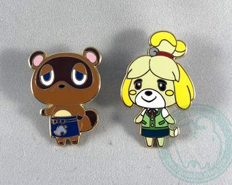 Animal Crossing Enamel Pins - Tom Nook and Isabelle