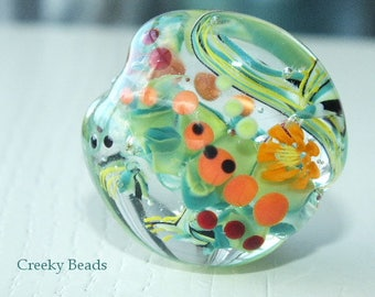 "Handmade Lampwork Focal Bead - ""Happy  Bead ""- Creeky Beads SRA"