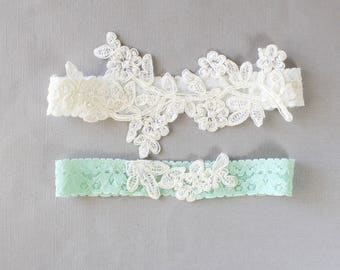 Ivory Pearl Beaded Lace and Mint Stretch Lace Wedding Garter Set ,Ivory and Mint Wedding Garter, Mint Toss Garter  / GT-46