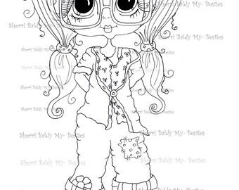 INSTANT DOWNLOAD Digital Digi Stamps Big Eye Big Head Dolls Messy Bessy IMG860 My Besties By Sherri Baldy