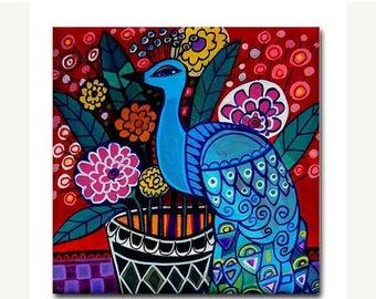 50% SALE- Peacock art Tile Ceramic Coaster Mexican Folk Art Print of painting by Heather Galler bird