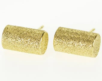 18k Pitted Textured Cylindrical 3D Stud Post Back Earrings Gold