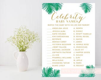 Celebrity Baby Name Game printable, Green gold and white baby shower game, palm leaves, baby name game, INSTANT DOWNLOAD, 004