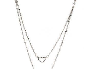 Duplexes mini heart crystal necklace