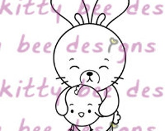 Bun Bun and Cheek Cheek Digital Stamp