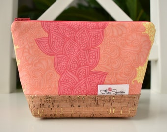 Zipped Pouch - Pink, Orange, Yellow Doodles - makeup bag, cosmetic bag, toiletry bag, accessories bag, small storage bag, small zipper pouch