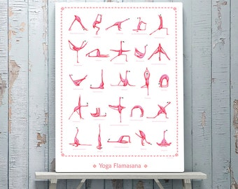 Pink Flamingo yoga poster with 25 asanas, 18 x 24 poster