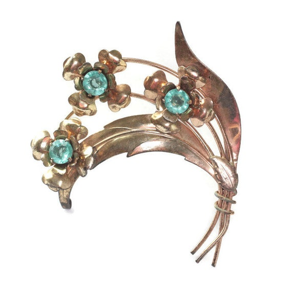 Harry Iskin Vermeil Sterling Flower Brooch Pin Aquamarine Glass Stones Mid Century Jewelry