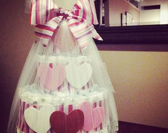 Heart diaper cake for baby shower centerpiece