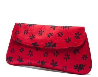 Red Silk Clutch Bag