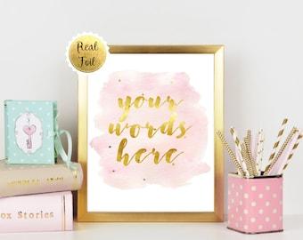 Custom Foil Print, Gift for Boss, Girl Boss, Personalised Foil Print, Personalised Quote, Custom Quote Art, Personalized Gold Foil Gifts