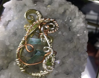 Tourmaline & Peridot Pendant in Sterling Silver, Brass and Copper