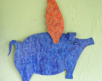 When Pigs Fly Metal Wall Decor Flying Pig Blue Orange Indoor Outdoor Patio Kitchen Den Art 20 x 20