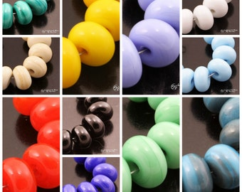 SRA Lampwork Beads Opaque Spacer Set Lampwork Spacers Green Purple Blue Yellow Red Black Ivory Periwinkle Handmade by Heather Behrendt SRA