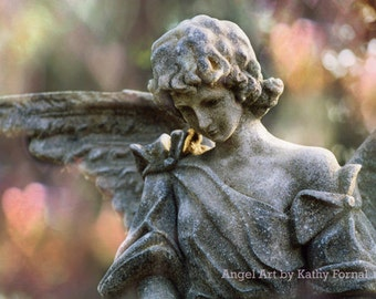 Angel Photographs, Dreamy Angel Prints, Angel Decor, Ethereal Guardian Angel & Hearts, Garden Angels, Angel Photography, Angel Wall Prints