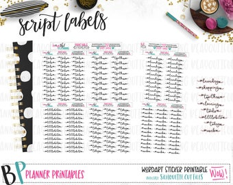 Script Word Labels | Planner Stickers | Printable Stickers | Foil Ready | Cut Lines | Headers | Foil Ready