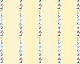 Bunnies Stripe Yellow fabric 100% Cotton Riley Blake Fabric in 1/4, Half 3/4 and a Yard for Sewing/ Quilting/ Crafting/  Applique Sewing