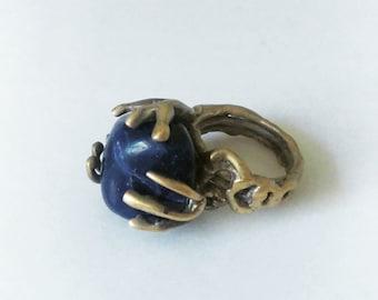 Vintage Brass Brutalist Ring With Dark Blue Stone