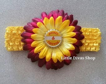 READY TO SHIP!   Mickey & Friends Bottle Cap Crochet Flower Headband - Yellow and Maroon - fits all ages