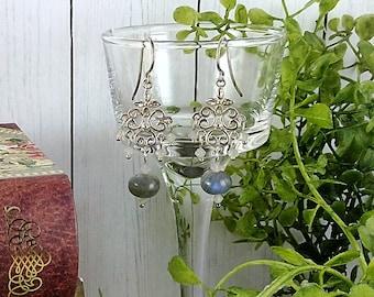 Handmade Labradorite Chandelier Earrings