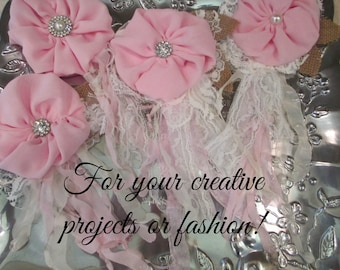Shabby Chic Fabric Flower Pin, Brooch, Corsage, Pink Rose Brooch