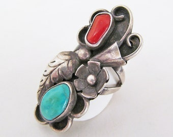 Vintage Coral & Turquoise Ring, Big Bold Silver Statement Ring, Native American Sterling Silver Ring, Statement Jewelry, Multistone Ring
