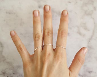 Silver skinny ring / Stacking rings / Hammered texture / Sterling silver 925