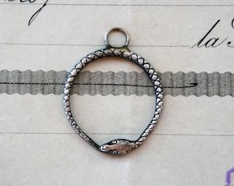 Solid Silver Ouroboros Snake Serpent Pendant